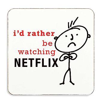 Mannen Ik zou eerder kijken Netflix Coaster Cork gesteund