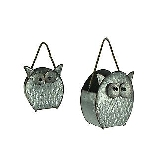 Rustic Galvanized Metal Owl Planters with Rope Handle Set of 2