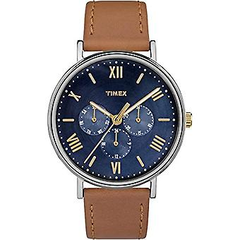 Southview TW2R29100 Timex quartz montre-bracelet pour hommes, bracelet en cuir brun,