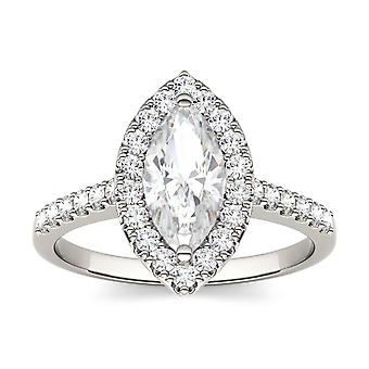 14K White Gold Moissanite by Charles & Colvard 10x5mm Marquise Engagement Ring, 1.45cttw DEW