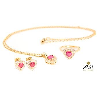 Ah! Jewellery Genuine Precious Ruby Heart Gemstone Ring, Earrings & Necklace Set