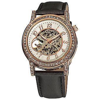 Akirbos XXIV AK475RG donna cristallo accentati aperto cuore automatico scheletro raso rosa-tono cinturino orologio