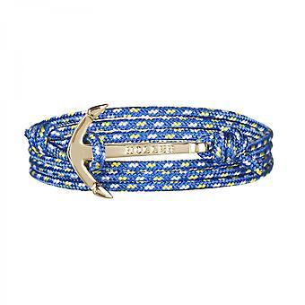Rope Mosley Gold polert Anchor/blå, gul og hvit Paracord armbånd HLB-01GDP-P17
