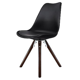 Fusion Living Eiffel Inspired Black Plastic Dining Chair With Pyramid Dark Wood Legs
