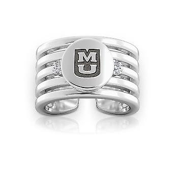 University Of Missouri Engraved Sterling Silver Diamond Multiband Cuff Ring