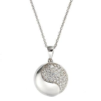 PENDANT WITH CHAIN CIRCLE 925 SILEVR MICRO PAVE ZIRCONIUM