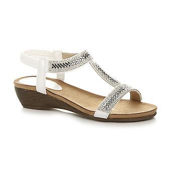 Ajvani Womens calcanhar meados de cunha t-bar slingback diamante sandálias de verão