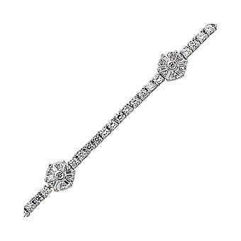 Jewelco London Rhodium Plated Silver Round Brilliant and Baguette Cubic Zirconia Baguette Flower Tennis Bracelet