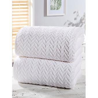 Visgraat 2 stuk handdoek Bale wit