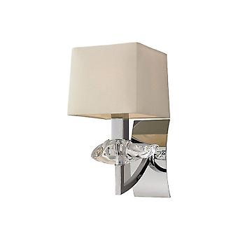 Mantra Akira Wall Lamp Switched 1 Light E14, Polished Chrome With Cream Shade