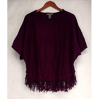 Kate & Mallory Sweater Dolman Sleeved Fringe Hemline Pullover Purple A405024