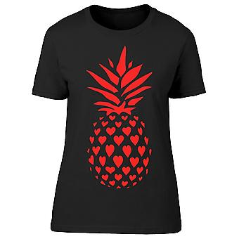 Red Pineapple Made Of Hearts Tee Women-apos;s -Image par Shutterstock