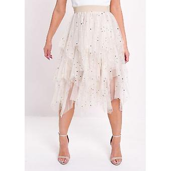Jupe haute taille Tiered Tulle Star Sequin Beige