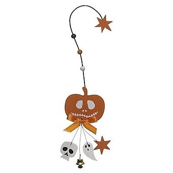 Pumpkin Hanger Hook with Skull Ghost and Bell