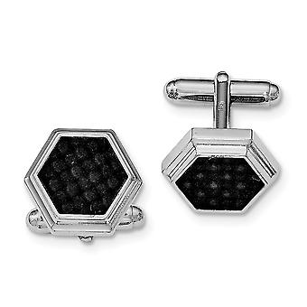 925 Sterling Silver Polished Hexagon Black Carbon Fiber Cuff Links Jewelry Gifts for Men
