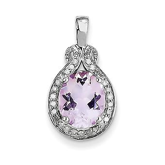 925 Sterling Silver Polished Open back Rhodium plated Diamond Pink Amethyst Pendant Necklace Jewelry Gifts for Women