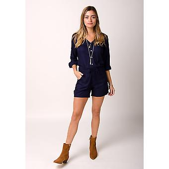 Orchid ladies playsuit with long sleeves blue