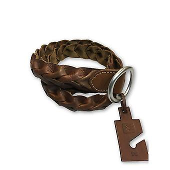 Agave woven leather belt in brown