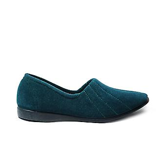 GBS Audrey Ocean Green Velour Womens Slip On Full Shoe Slippers