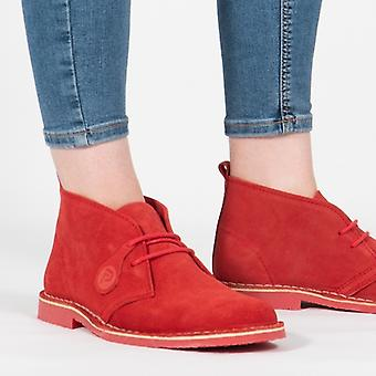 Popps Colour 2.0 Unisex Suede Desert Boots Chilli Red