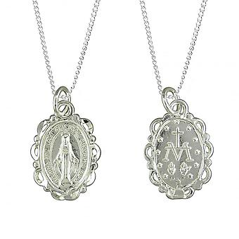 Eternity Sterling Silver Double Sided Miraculous Medal Pendant And 18'' Chain