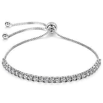 925 Sterling Silber 4mm Silber volle Runde Steine Tennis Armband