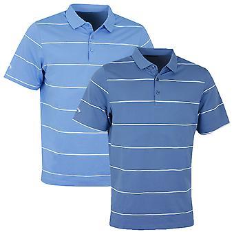 Callaway Golf Mens Chev Auto Stripe Polo Shirt Opti-Dri Short Sleeve