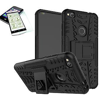 Hybrid sag 2 stykke sort for Huawei P8 Lite 2017 + hærdet glas taske case cover