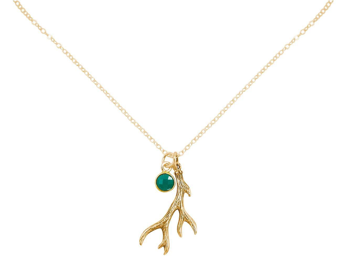 Gemshine Hirsch Elch Geweih Anhänger mit Smaragd 925 Silber, vergoldet oder rose