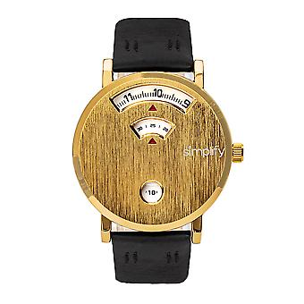 Simplify The 7000 Leather-Band Watch - Gold/Black