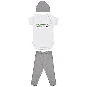Yoda Only One I Love, Bodys body white Baby, Grey Baby Bottoms, Grey Baby Bean Hat, Baby Outfit