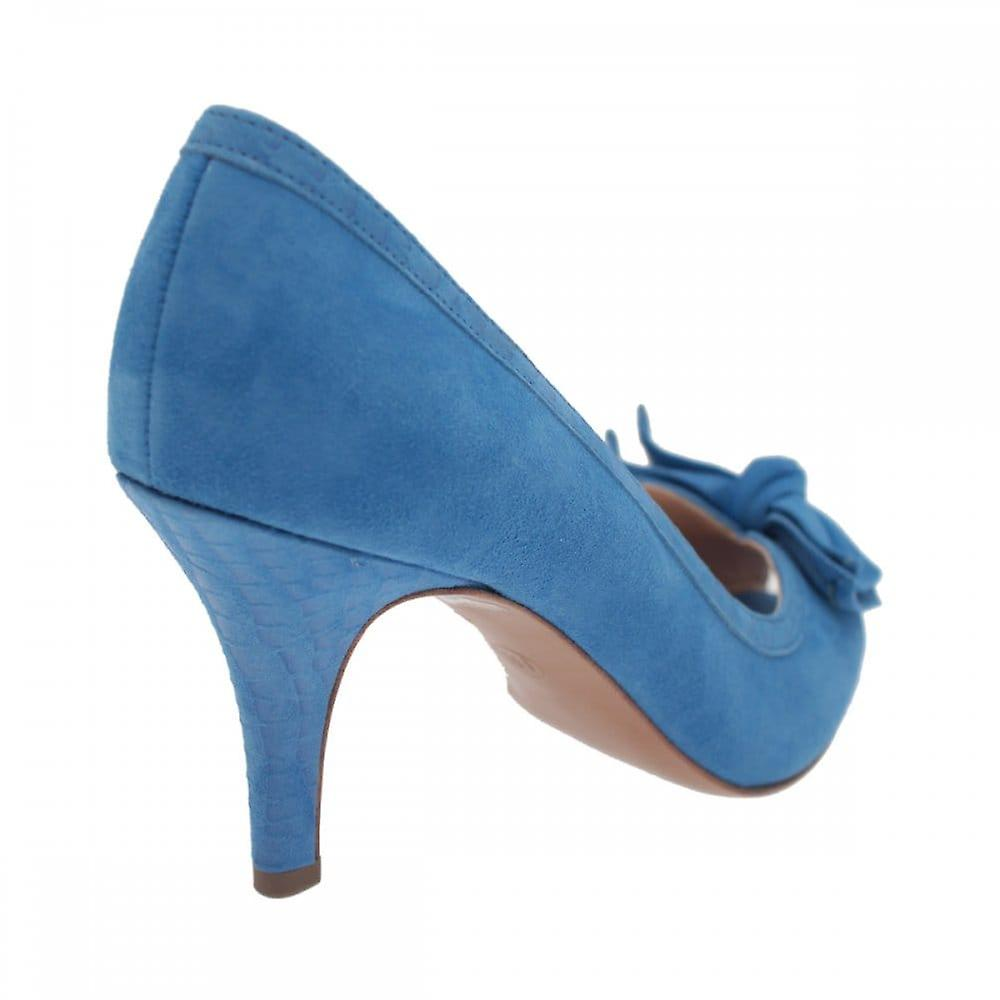 Peter Kaiser Sylve Blue Suede Peep Toe Bow Court Shoe