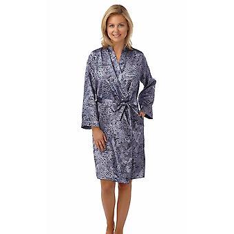 Ladies Quality Satin Snakeskin Print Wrap Over Dressing Gown Nightwear Bathrobe MN131