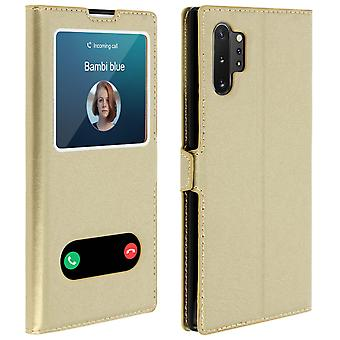 Double window flip standing case Samsung Galaxy Note 10 Plus, TPU shell - Gold