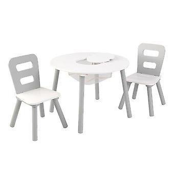 Aseta pyöreä kahvipöytä 2 tuolit valkoinen käsine
