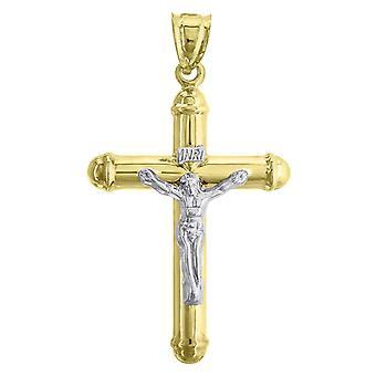 10k זהב 2 הטון Mens לחצות את גובה 54.9 mm X רוחב 31.5 mm תליון הקסם הדתי שרשרת תכשיטים מתנות לי