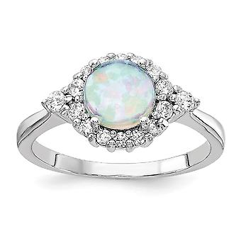 Cheryl M 925 Sterling Silver Simulated Opal and Cubic Zirconia Ring Size 7 Jewelry Gifts for Women