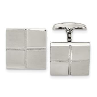 Stainless Steel Brushed and Polished Square Cuff Links Jewelry Gifts for Men
