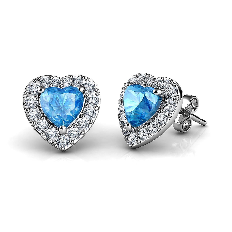 Dephini heart stud earrings  925 sterling silver heart cz crystals
