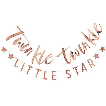 Rose Gold 'Twinkle Twinkle Little Star' Bunting Baby Shower Decoration 2 x 1.5m
