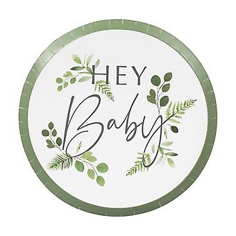 Botanical Hey Baby Shower Paper Party Plates x 8