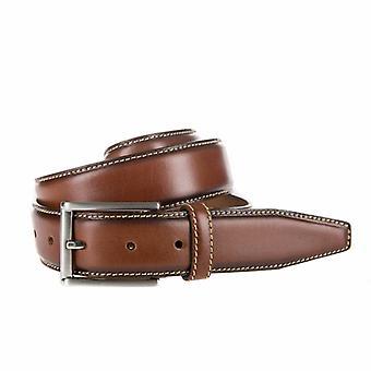 Stylish Cognac Pantalon Belt With Contrasting Stitching