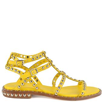 Ash PRECIOUS Sandals Yellow Leather & Gold Studs