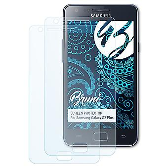 Bruni 2x Schutzfolie kompatibel mit Samsung Galaxy S2 Plus Folie