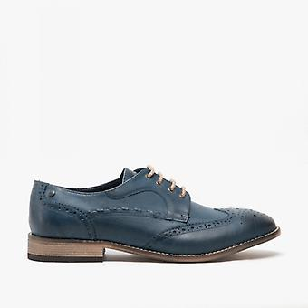 Base London Kitchin Mens Leather Brogue Shoes Navy