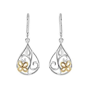 Dew Sterling Silver Flower Teardrop Gold Plate Drop Earrings 60809GD