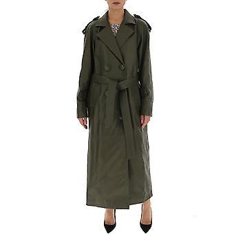 Attico Ats20l03095 Frauen's grüne Baumwolle Trenchcoat