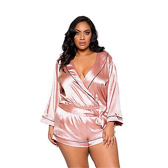 Womens Plus Size Cozy Satin Collared Tie Close Pink Teddy Romper Sleepwear Lingerie