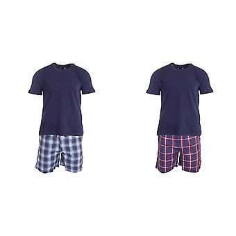 Foxbury Mens T-Shirt & Checked Shorts Pyjama Set