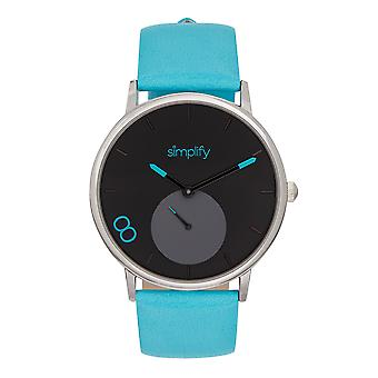 Simplify The 7200 Leather-Band Watch - Turquoise